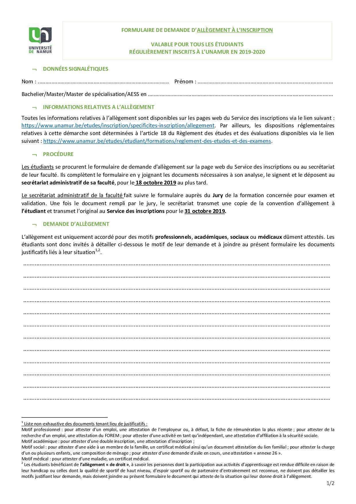 Formulaire AL inscription